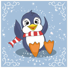 funny penguin playing snowballs.