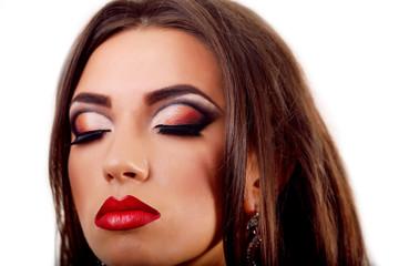 Beauty Red Lips Makeup. Beautiful Woman whit Makeup white backgr