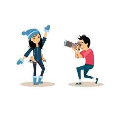 Photographer and Girl with Skates in Flat Style. Vector Illustration