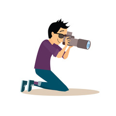 Young Photographer in Flat Style. Vector Illustration