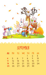 Calendar for 2016 with cute illustrations by hand.