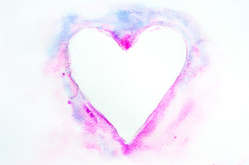 Beautiful heart by hand drawn, watercolor illustrator