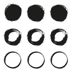 Set grunge circle brush on a white background