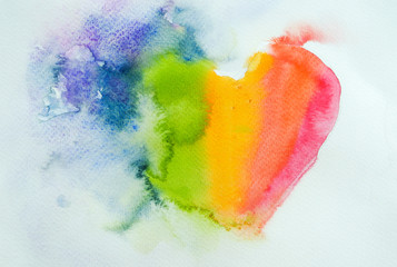 Abstract heart , watercolor painting