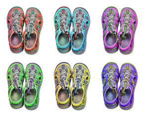Isolated 6 colorful sport sandals