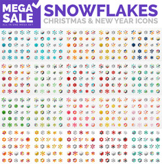 Mega collection of simple round snowflakes