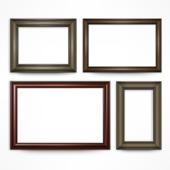 Picture wooden frames isolated on white, vector illustration