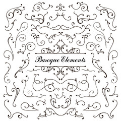 Set of calligraphic floral design elements and page decoration, swirl vintage collection
