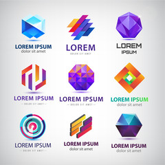 Vector set of abstract 3d logos, icons, design templates. Crystal shapes, loop, origami, rhombus