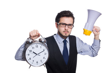 Wall Mural - Young businessman holding alarm clock isolated on white