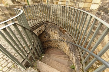 Spiral staircase in old castle in Luxembourg