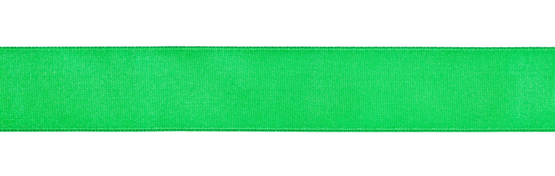 wide green satin ribbon isolated on white