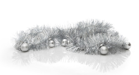 Greeting card made of silver tinsel with silver christmas balls
