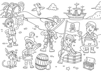 Illustration of pirate child cartoon for coloring