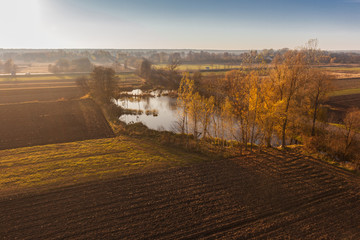 Aerial view of autumn agricultural field