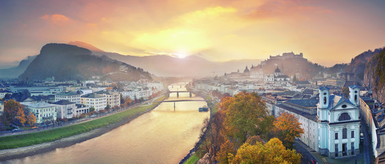 Salzburg, Austria. Panoramic image of the Salzburg during autumn sunrise. Wall mural