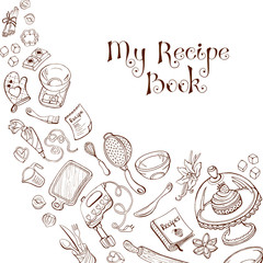 Baking utensils in doodle style. My recipe book. Cafe and restaurant menu design concept.