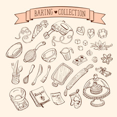 Baking items collection in doodle style. Hand drawn kitchen tools set.