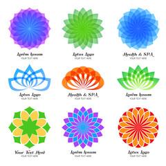 Wall Mural - Lotus color vector logo, label and emblem set