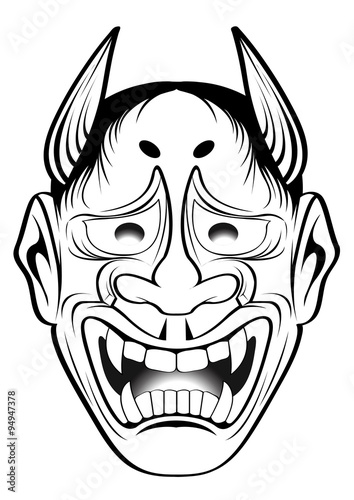 kabuki mask template vector illustration graphic tattoo japanese style japan