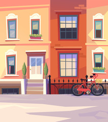 Sunny city street with a City Bicycle. Vector illustration