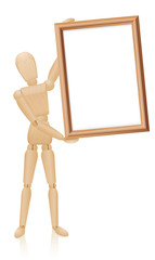 Artist mannequin with blank wooden picture frame. Isolated vector illustration on white background.
