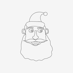 Santa Claus line monochrome vector illustration on white background