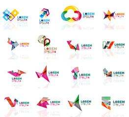 Geometric shapes company logo set, paper origami style