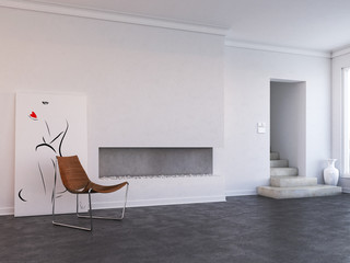 Modern living room with chair in composition