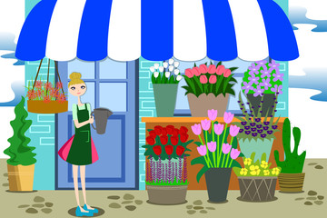 Florist Working with Bunch of Different flowers