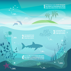 Underwater infographics. Landscape of marine life - Island in the ocean and underwater world with different animals. Low polygon style flat illustrations. For web and mobile phone,print.
