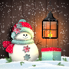 Cute snowman with colorful present and vintage lantern, illustration