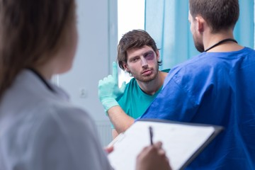 Male patient in surgery room
