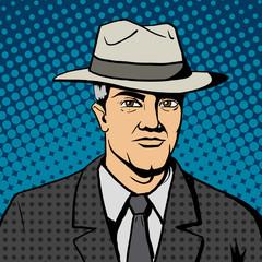 Gangster man with hat  pop art vector