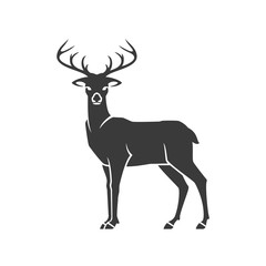 Deer Side View Isolated On White Background Vector object