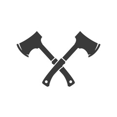 Lumberjack axes crossed FIsolated On White Background Vector