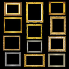 Set antique picture frame on black background