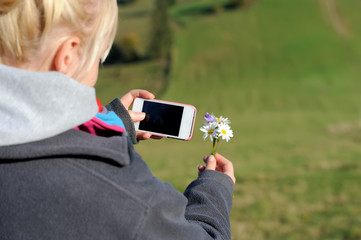 Woman photographing flower phone