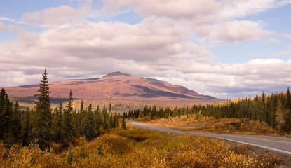 Autumn Drive Fall Colors Alaska Mountain Highway Transportation