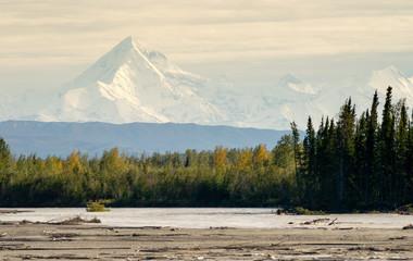 Wall Mural - Delta River Overcast Skies Alaska Mountain Range Last Frontier