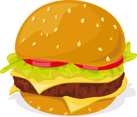 Hamburger - illustration on white background
