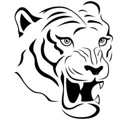 Aggressive tiger head close-up