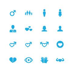 couple, love icons universal set