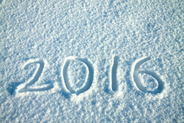 New Year's and Christmas background from snow.text on snow 2016