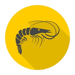 Shrimp icon with long shadow