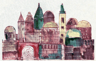 Ancient Town,Old City,Illustration,Sketch