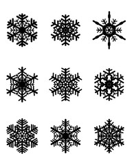 Set of different black  snowflakes, vector illustration