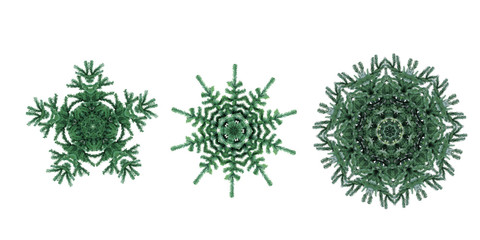 Green kaleidoscope with 3 pine trees .Great background for your