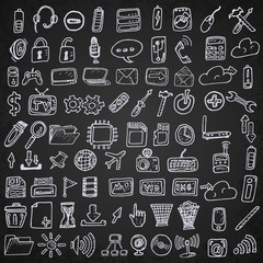Hand drawn computer icons set.