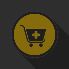 dark gray and yellow icon - shopping cart plus